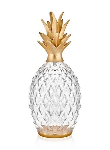 The Mia Dekor Cam Ananas - Gold Altın